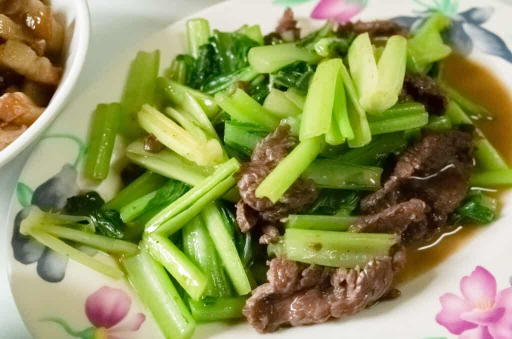 Bok choy with beef saute