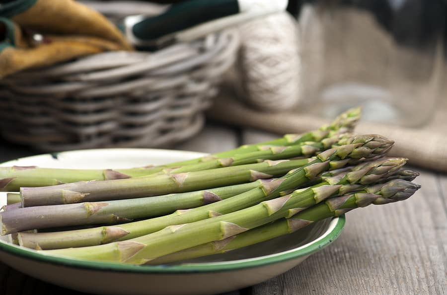 Asparagus in kitchen