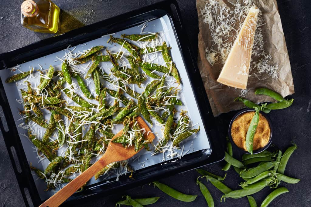 Baked snap peas