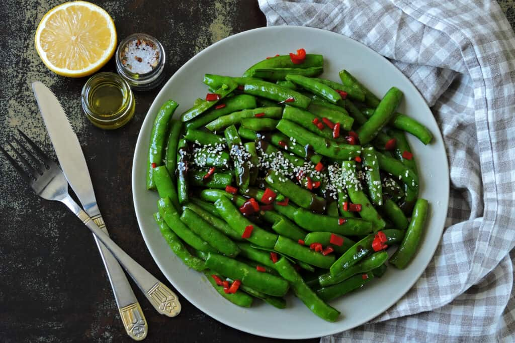snap peas with chili