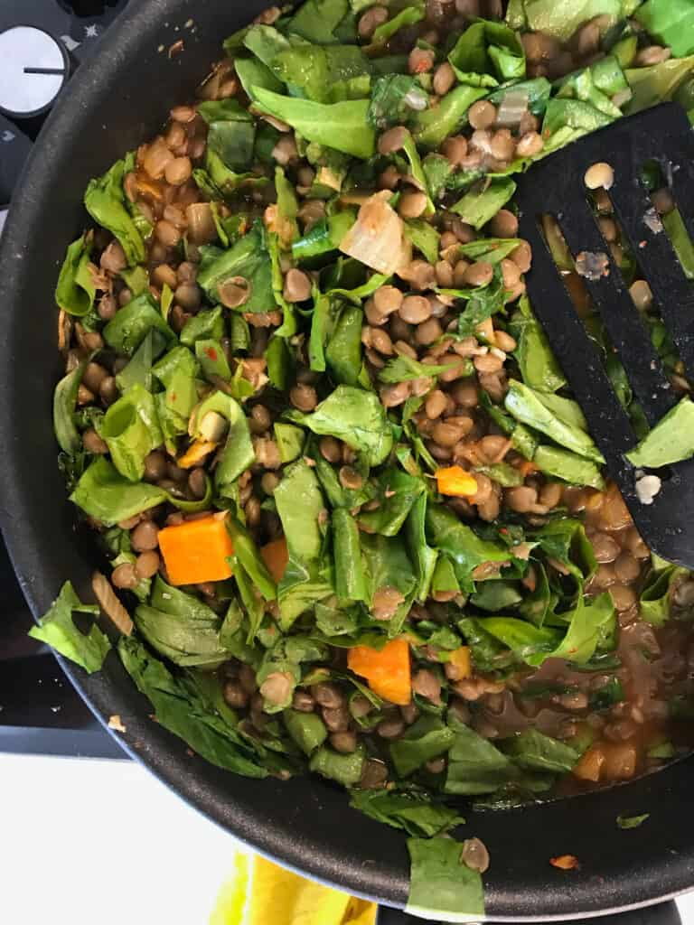 Stewing lentils and chard