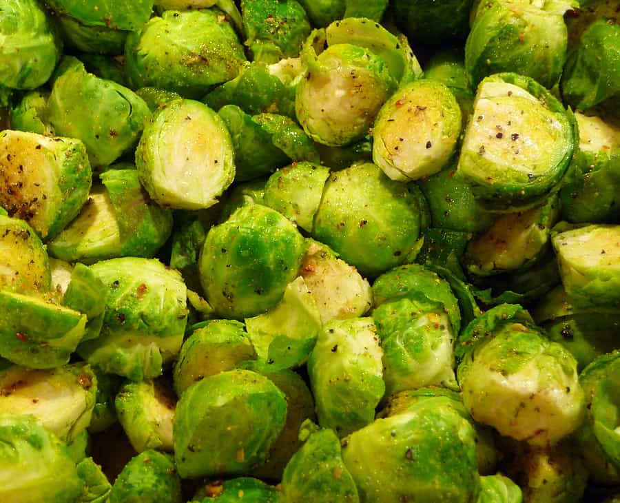Halved Brussels sprouts steamed