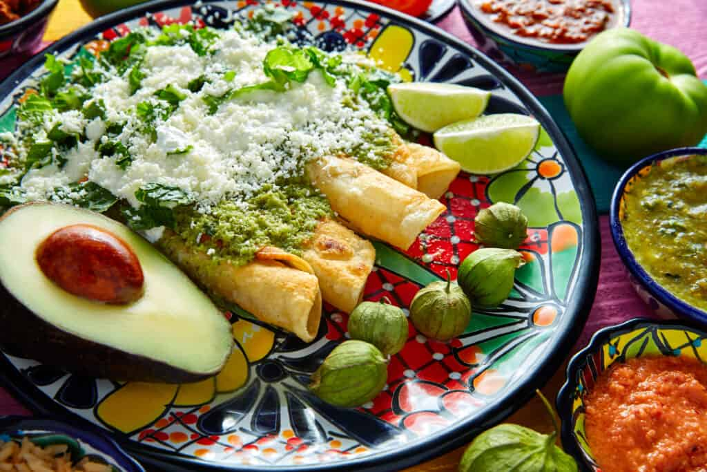 Enchiladas with salsa verde