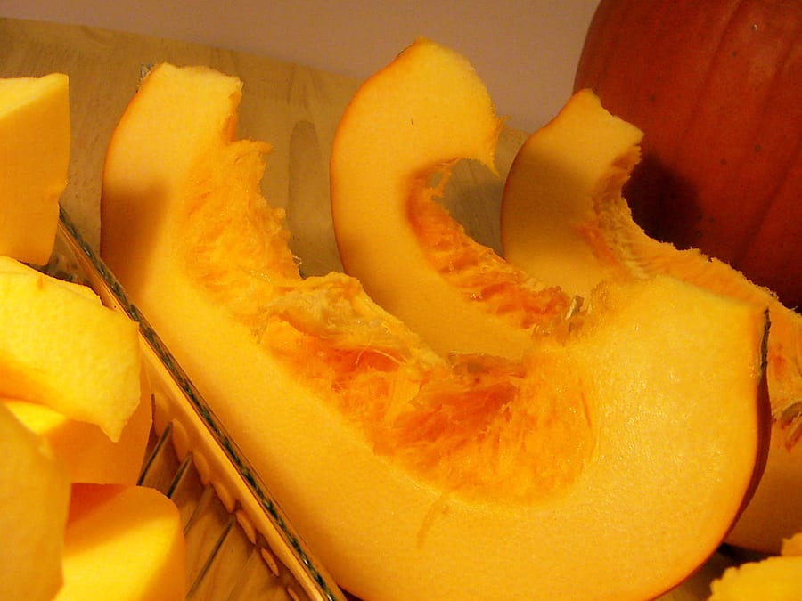 Pumpkin sliced for cooking