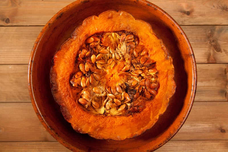 Roasted half pumpkin