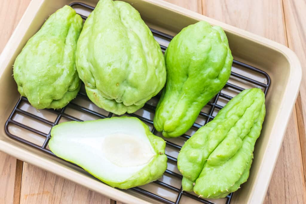 chayote sliced in kitchen
