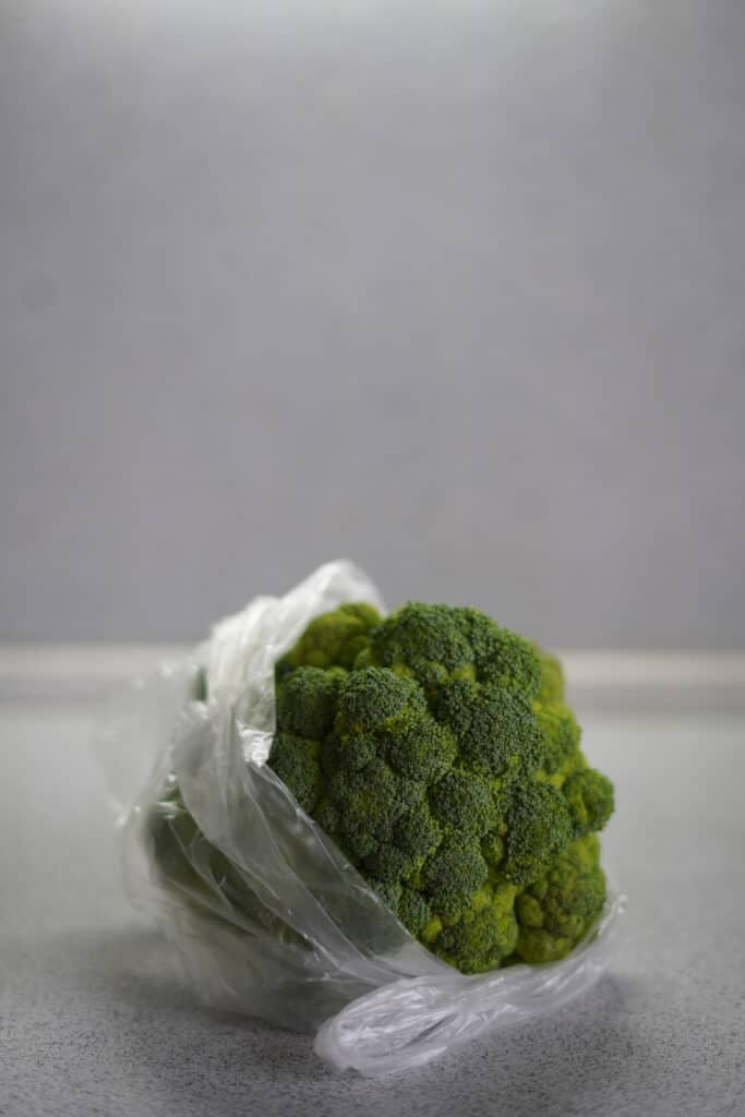 Broccoli in plastic bag