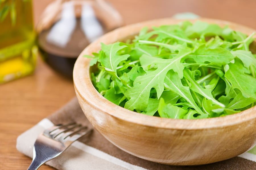 Arugula leaves in bowl